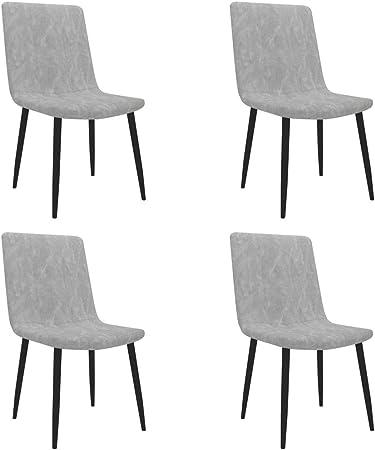 vidaXL 4X Sillas de Comedor Cuero Sintético Hogar Jardín Salón Comedor Bricolaje Decoración Diseño Estilo Mobiliario Muebles Asiento Banco Gris Claro: Amazon.es: Hogar