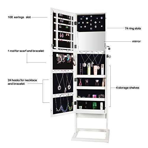 Bonnlo Jewelry Armoire Square Stand with 4 Adjustable Angle Tilting, Well Packed by styrofoam & Stiffer Covering, Lockable Heavy Duty Bedroom Make up Mirror Cabinet Organizer Closet by Bonnlo (Image #4)