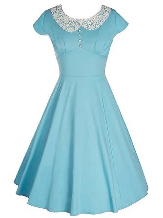 9888b7d7a12 Women s Light Blue Peter Pan Collar Lace Solid 1950s Vintage Party Dress