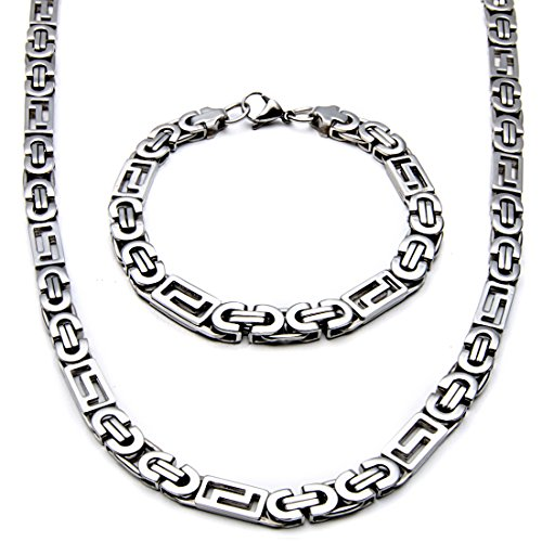 Polished Stampato Necklace - Mecoo America Fashion Style Jewelry Sets Link Byzantine and Stampato Chain Stainless Steel High Polished Necklace and Bracelet Sets for Men (Necklace and Bracelet)