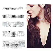 ANGELANGELA Set of 5, Silver 2-8Row Thick Wide Clear Rhinestone Crystal Choker Collar Diamond Necklace Tattoo Statement Jewelry