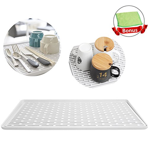 Acrux7 Dish Drainer Tray, Plastic Drip Tray for Cups & Bottle & Kitchen Utensil Drying, Kitchen Dish Drying Mat Pad (Gray, 40.5cm x 23.5cm), Bonus Cleaning Scrubbing Microfiber Cloth by Acrux7