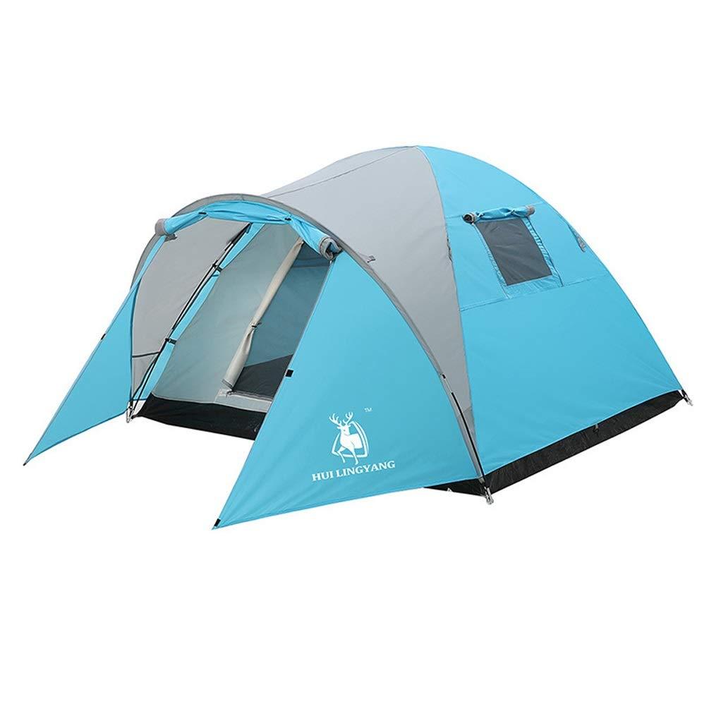 YWYU Im Freienzelt Polyester-Gewebe-Material Zelt 3-4 Personen-Familien-Freizeit-doppelte regensichere manuelle Aufrichtungszelte für Strand, im Freien, Reisen, Wandern, Kampieren, Jagen, Fischen