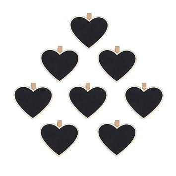 8pcs Negras Pizarras Tableros con Clavijas de Madera Clips de Foto en Forma de Corazón
