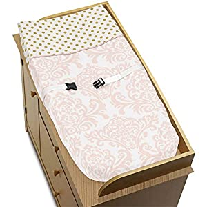 Sweet Jojo Designs Baby Changing Pad Cover for Blush Pink, Gold and White Amelia Collection