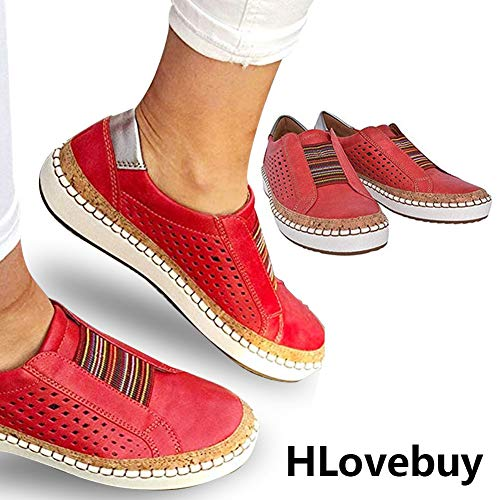 HLovebuy 2019 New Slide Hollow-Out Round Toe Casual Women's Outdoor Sneakers,Fashion Casual Hollow-Out Round Toe Slip On Shoes Flat for Women