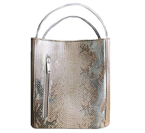 'Lily' Designer Inspired Gold Beige Gray Metallic Snakeskin Handbag by Samoe Style by Samoe Style