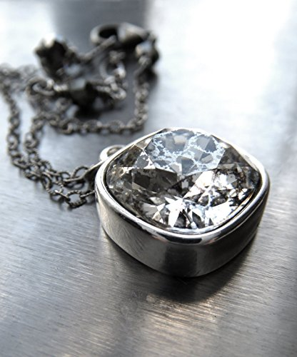 Silver Patina Crystal Necklace with Swarovski Crystal, Distressed Vintage Mercury Glass Style Crystal Pendant