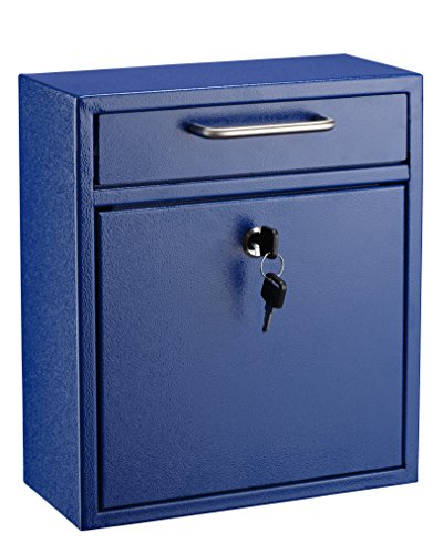 AdirOffice Locking Drop Box - Wall Mounted Mailbox - (Medium, Blue)