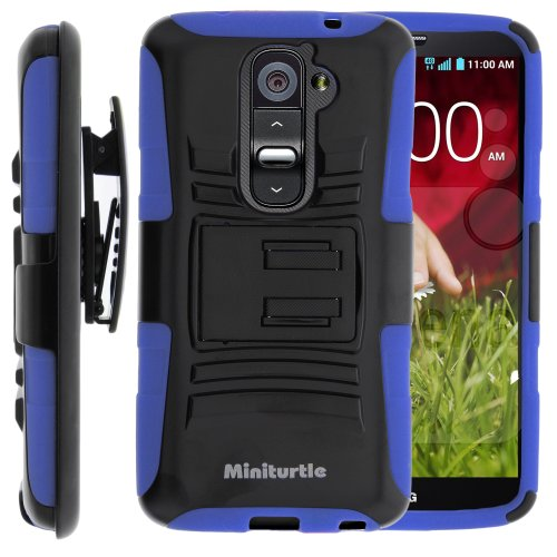MINITURTLE, 2 in 1 Hybrid Dual Layer Armor Phone Case Cover with Kickstand, Holster Belt Clip, and Screen Protector for Android Smartphone LG Optimus G2 II 2 (Black / Blue)