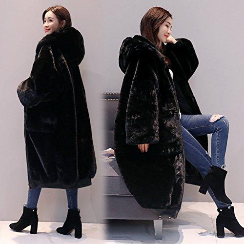 Outwear WanYang Holgado alta para Cardigan Mujer Sólido de de Elegante Abrigo Color Calidad Negro Cálido Abrigo BBxq6wU