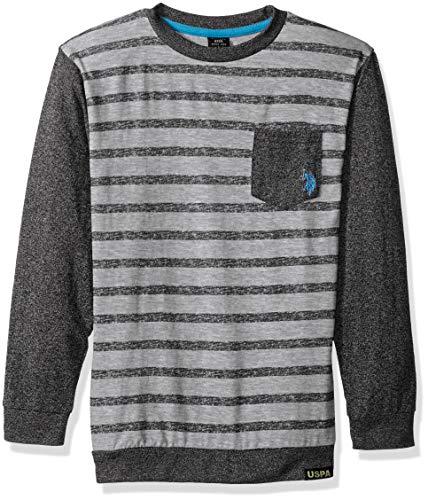 (U.S. Polo Assn. Boys' Big Long Sleeve Striped Crew Neck T-Shirt, Color Block with Pocket Black, 10/12)