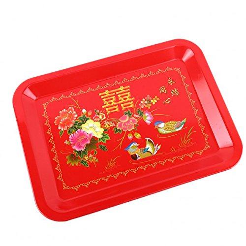PLATEAU de SERVICE Style Chinois Motif Double Bonheur et Amour