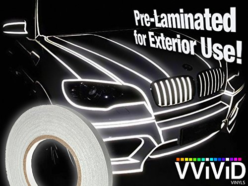 Reflective Vinyl Tape (VViViD Reflective Fine Line Detail Tape Stripe 1cm x 3m Prelaminated for Interior/Exterior Use (Silver White) )