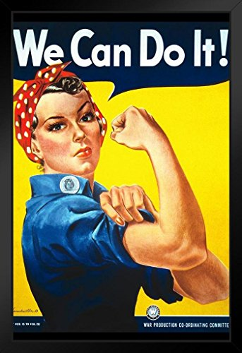 Cana Framed - WPA Rosie The Riveter We Can Do It Framed Poster 14x20 inch