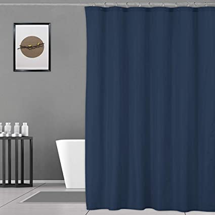Navy Shower Curtain 100 Waterproof And Mildew Resistant Fabric For Bathroom Showers