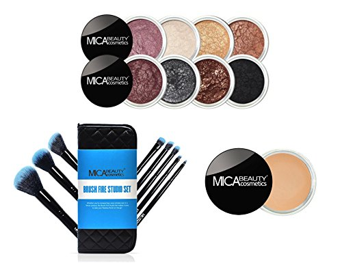 MICA Beauty Eye Makeup Kit: ''Boudoir Romance'' 8 Shimmer Eye Shadows + Brush Fire Studio Set Blazing Blue + Eye Primer by MicaBeauty