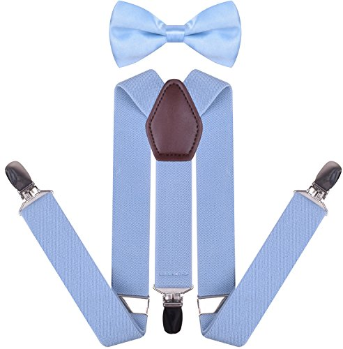 YJDS Boys' Leather Suspenders and Pre Tied Bowtie Set Baby Blue 30 Inches