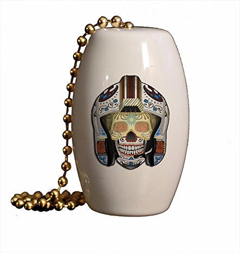 Sugar Skull Rebel Porcelain Fan / Light Pull