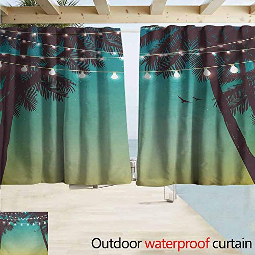 - AndyTours Thermal Insulated Blackout Curtains,Nature Night Time Beach Sunset Design with Little Lantern and Island Palm Trees Art Print,Drapes for Outdoor Decor,W55x45L Inches,Multicolor