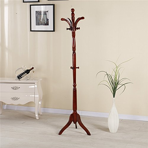 Simple Cherry Hall Tree (YiHai Coat Rack Stand Hall Tree Entrayway Jacket Purse Scarf Rack)