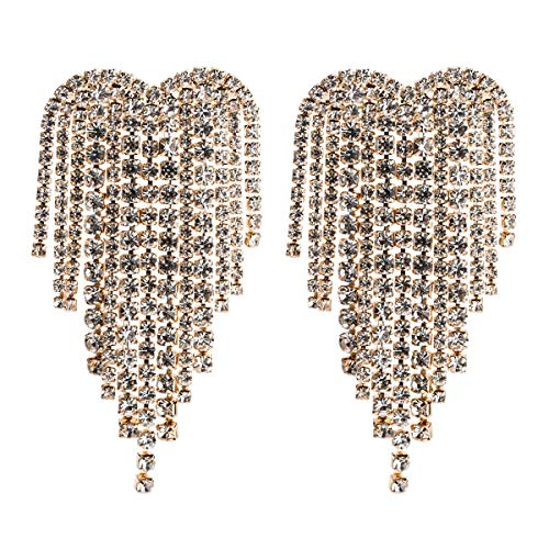 MISASHA Rhinestone Luxury Heart Silver Tone Celebrity Designer Earrings For Women