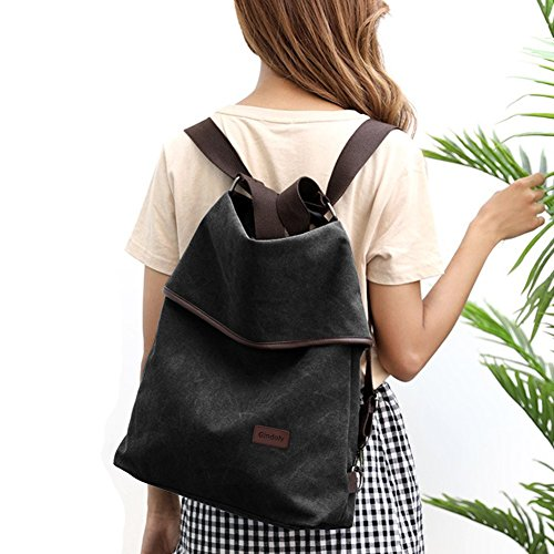 Handle Vintage Bag Women Ladies Shopping Hobo bags Handbag Bag Bags Canvas Shopping Gindoly multifunction Shoulder School Black Travel Beach Top for Crossbody qvwCYWO