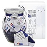 KindNotes Glass LONG DISTANCE RELATIONSHIP Keepsake Gift Jar of Messages for Him or Her Birthday, Anniversary, Just Because - Airmail
