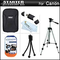 Starter Accessories Kit For The Canon Powershot A2300 Is, A3400 Is, A4000 Is, Elph 170 Is, Elph 160, Elph 350 Hs Digital Camera Includes Case + 50 Tripod W Case + Mini Tabletop Tripod + More