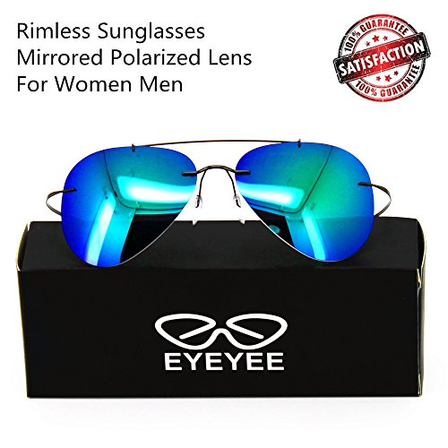 Polarized Sunglasses Mirrored Aviator Rimless 100% UV Fishing Driving Sports for Women - Get Face To Fit Your How Sunglasses That