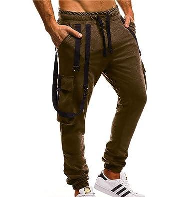 Keephen Pantalones de Carga para Hombre Cintura elástica ...