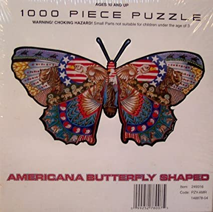 Americana Butterfly Shaped Jigsaw Puzzle by Unknown
