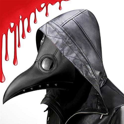 Plague Doctor Bird Mask Long Nose Beak Cosplay Steampunk for Halloween Party Costume Black Full Head Mask