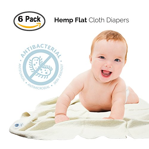 Baby Tooshy's Organic, Unbleached, Super Absorbent, Large Flat Diapers - Perfect for Overnight. Customizable 1-Size-System. THE BEST, THIRSTY Diaper Flats - use from Newborn to Potty Training. 6-Pack - Hemp Prefold Diapers