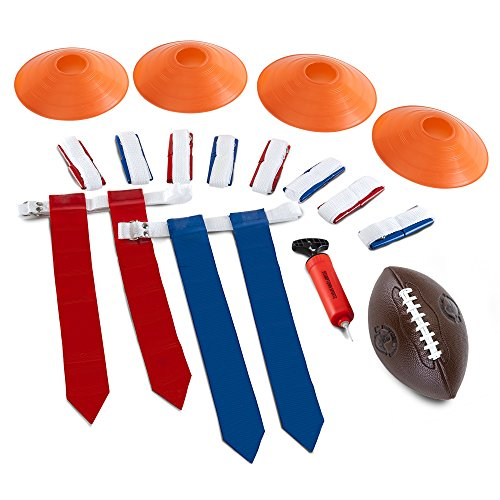 Stumptown Sportz Flag Football Flags - Set Includes 10 Flag Belts for 5 x 5 | 4 Cones | Youth Football | Hand Pump | Carrying Bag - Complete Flag Football Belt Set