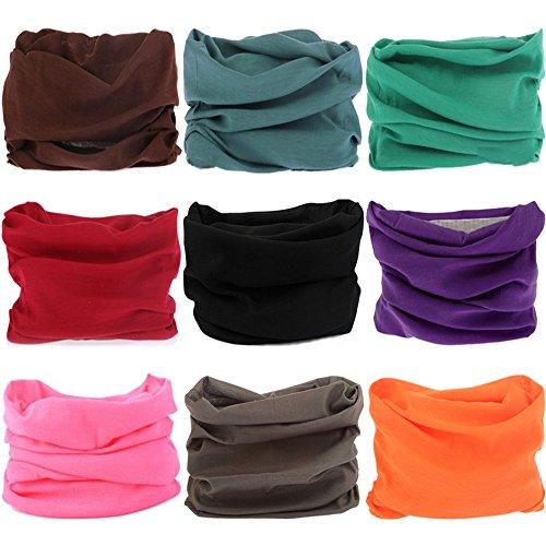 VANCROWN 9PCS & 6PCS Multifunctional Stretchable Sport & Casual Headwear, Headband Scarf Bandanna Headwrap Mask Neckwarmer & More ()