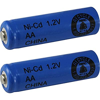 Two (2) AA NiCd Nicad 600 mAh 1.2 V Rechargeable Batteries for Solar Lights, etc
