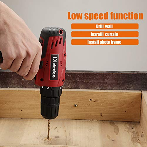 Dedeo Cordless Hammer Drill Tool Kit, 60Pcs Household Power Tools Drill Set with 16.8V Lithium Driver Claw Hammer… 4