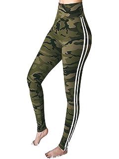 c6fee333fc SANFASHION Legging Sport Femme Pantalon 2 Rayé Yoga Taille Haute Élasticité  Serré Amincissant