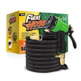 2. Flexi Hose & 8 Function Nozzle, 50 FT Lightweight Expandable Garden Hose | No-Kink Flexibility - Extra Strength with 3/4 Inch Solid Brass Fittings & Double Latex Core | Rot, Crack, Leak Resistant