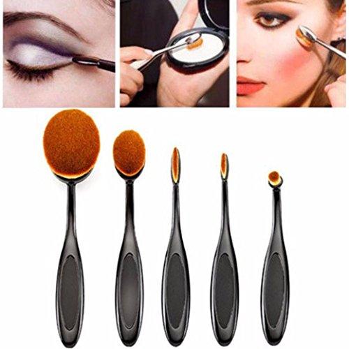 make-up pinsel set, Switchali 5 PCS / Set Makeup Brush Set, Zahnbürste Stil Augenbrauen Pinsel Foundation Eyeliner Make-up Pinsel (Schwarz)