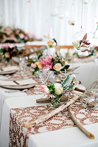 """QueenDream Sequin Table Runner 14""""x80"""" Rose Gold Flower wholesale Shimmer Pattern for Party/Baby Shower/Wedding"""