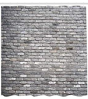 Abakuhaus Gris Cortina de Baño, Imagen de un Viejo y Rústico Muro de Ladrillos Estructura de Concreto…