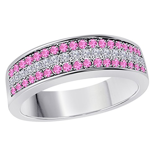 6MM 14K White Gold Finish .925 Silver Plated 0.50CT Pink Sapphire & White Cz Diamond Ring 3 Row Pave Half Eternity Men's Wedding Band Ring Size All Available by Star Retail