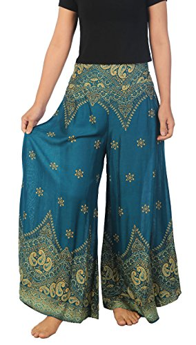 Lannaclothesdesign Womens Lounge Palazzo Pants Wide Legs S M L XL Sizes (XL, Teal Peacock Flower) - Wide Leg Palazzo Pants