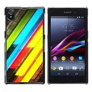 Be Good Phone Accessory // Dura Cáscara cubierta Protectora Caso Carcasa Funda de Protección para Sony Xperia Z1 L39 C6902 C6903 C6906 C6916 C6943 // Neon Lines Yellow Green Electri