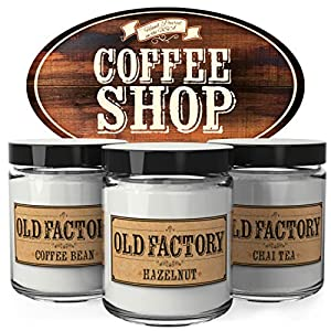 Old Factory Scented Candles - Coffee Shop - Decorative Aromatherapy - Handmade in The USA with Only The Best Fragrance Oils - 3 x 4-Ounce Soy Candles