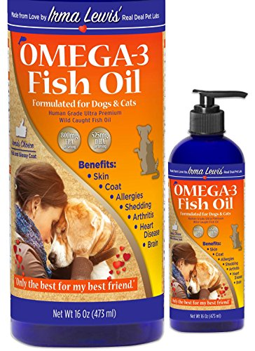 Ultra Premium Wild Caught Omega 3 Fish Oil for Dogs, Cats, Rabbits - Best For Silky Soft Coat, Ear Infections, Allergies, Dry Itchy Skin, Shedding. Essential Fatty Acids DHA & EPA, 16oz Pump