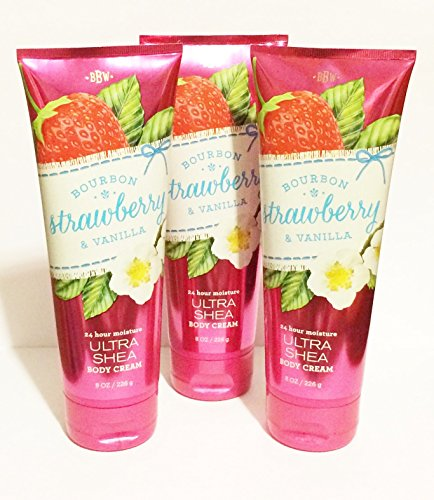 Bath & Body Works - Bourbon Strawberry & Vanilla Body Cream (Pack of 3)
