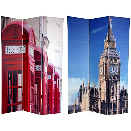 Oriental Furniture 6 ft. Tall Double Sided London Room Divider - Big Ben/Phone Booths (Style French Wood Clock Table)